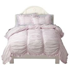 Simply Shabby Chic Queen Smocked Duvet Set with Two Shams White