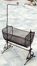 ANTIQUE Vintage VICTORIAN 1800s Wrought Iron ROCKING BABY or DOLL CRADLE & STAND