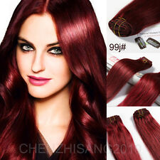 22inches Full Head 7Pcs/Set Clips In on remy  Real 100% Human Hair Extension 80g