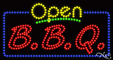 """NEW """"OPEN BBQ"""" BARBEQUE 32x17 SOLID & ANIMATED LED SIGN W/CUSTOM OPTIONS 25418"""
