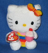 TY HELLO KITTY RAINBOW CUPCAKE BEANIE BABY - MINT with MINT TAGS