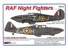 AML Models 1/72 RAF NIGHT FIGHTERS STUB EXHAUST VERSIONS Resin & Decal Set Pt 2
