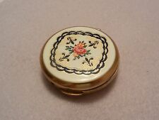 VTG Stratton Floral Powder Compact Enamel Top Blue and Gold on White Pink Rose