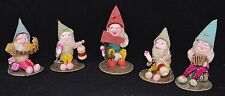 Vintage Christmas Figurines 5 GNOMES ELVES CHENILLE ORNAMENTS JAPAN Mid-Century