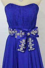 NEW $590 Jovani Ruched Strapless Bodice Prom Formal Evening Dress Size 2 Royal