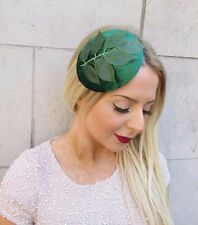 Emerald Green Velvet Botanical Leaf Fascinator Races Headpiece Hair Clip 2545