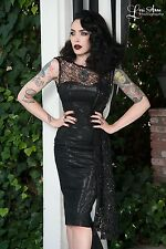 Tatyana bettie page Black Widow bombshell cocktail goth pin up vamp dress sz S