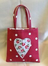 Mini Tote Bag~Cath Kidston Fabric~Button Rose Heart Clarke and Clarke Dotty