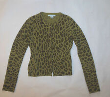 REBECCA TAYLOR WOMENS SWEATER GREEN ANIMAL PRINT CARDIGAN 100% CASHMERE SZ M
