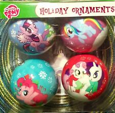 My Little Pony 4 Ball Christmas Ornaments Set Twilight Pinkie Dash Rarity Spike