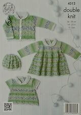 KNITTING PATTERN Baby's Jacket, Smock Dress and Top and Beret DK KC 4312