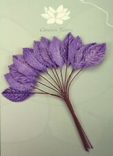 VELVET Leaves PURPLE 18x33mm x 12 Leaves with Wire stems Green Tara