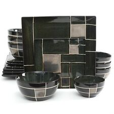 GIBSON ELITE AZEAL 16 PIECE DOUBLE BOWL DINNERWARE SET for 4 SQUARE PLATES GREEN