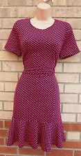 G21 BLACK PINK SPOTTY POLKA DOT QUILTED A LINE FISHTAIL FORMAL TUBE DRESS 12 M