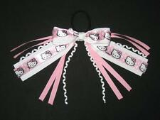 "NEW ""HELLO KITTY"" Pony Tail Birthday PINK Girls Ribbon Hair Bows Cheer"