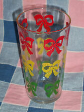 Old Glass Tumbler  Red Yellow Green Bows  4 13/16 Inch High