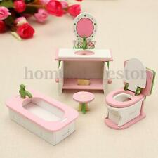 Retro Doll House Miniature Bathroom Wooden Furniture Set Kids Pretend Play Toy