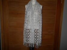 "RSVP Light Silver Gray Sequined Fringed scarf, wrap, stole, shawl 70"" Plus #272"