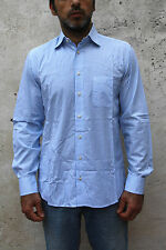 Mens Tailored Tommy Hilfiger shirt Vertical Striped White Blue Casual 15 38''