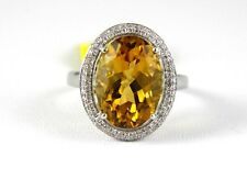 Fine Oval Orange Citrine Solitaire Ring w/Diamond Halo 14k White Gold 6.63Ct