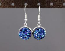 sparkly dangle earrings small silver faux druzy pendant 1.25 inches long drusy
