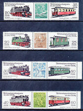 EAST GERMANY: 1980 & 1984 Railways in DDR - 4 x Pairs with Illus Tabs - MNH
