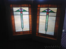 "Small Pair of Art Deco Stained leaded Glass Windows from Chicago 23"" x 16"""