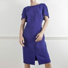 ESCADA Purple Short Sleeve Metal Bar Detail Square Neck Wool Dress DE 44 UK 18