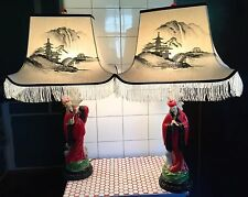 Pair Vintage 1950s 50s Asian Chinese Chalk Chalkware Couple Painted Silk Lamps