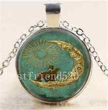 Steampunk Sun and Moon Cabochon Glass Tibet Silver Chain Pendant  Necklace#2608