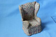 Vtg Doll House Miniature Printed Wing Back Upholstered Chair Furniture Accessory