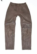"Vintage Brown Leather DILAN Tapered Biker Jeans Pants Trousers Size 42 W30"" L28"""