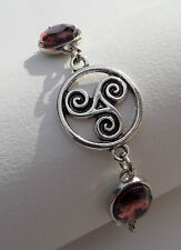 BRACELET DK SILVER PL TRISKALA CELTIC KNOT FACETED OVAL PLUM PURPLE GLASS STONES