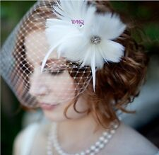 Bianco sposa velo due Floreale Diamante Fiore Fascinator con Deco hairdress