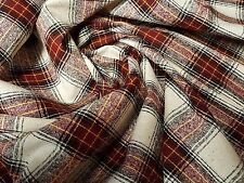 Raw Silk Red Ivory Tartan Plaid Tweed Vintage 7 Yards 21 Inches x 38 Inches Wide