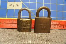 2 Brass Pad Locks Corbin