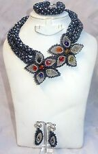 Grey Black Crystal 2 Layers New Design Beads Party Bridal Flower Jewellery Set