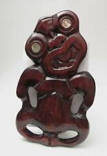 LARGE VINTAGE NEW ZEALAND MAORI TIKI HAND CARVED WOODEN WITH PAUA SHELL EYES