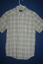 Patagonia Casual Button Front Shirt Size M SS Ivory With Multi Color Plaid EUC