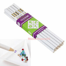 10 IN 1 set White Wood Pencil Women Drill Point Dotting Nail Art Pen Tool Makeup