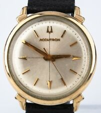 Vintage Men's Gold-Plated Bulova Accutron Watch w/ 214 Movement & Leather Band