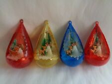 VINTAGE  SET 4-  TEARDROP  DIORAMA JEWEL BRITE  X-MAS TREE ORNAMENTS