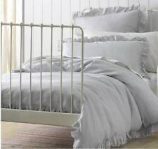 Shabby Blue Linen Rags and Ruffles Double Bed Doona Duvet Quilt Cover Set Chic