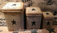 Primitive Crackle Tan & Black Star Tin Canisters Set of 3 ~ Country Decor