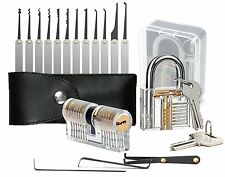 Geepro 15-Piece Lock Pick Set / lock picking kit with 2 Training locks, Key Tool