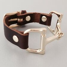 Leather Bracelets for Women, Mens Leather Bracelets, Brass Horse Bit, Hand made