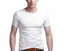 Men Fashion Round Collar T-shirt Casual Short Sleeve Skinny Cotton Tee Stretchy