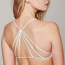 Sexy Women Bralette Cage Caged Back Cut Out Padded Bra Bralet Crop Top White