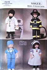 "Vogue 7678 18"" Doll Clothes Pattern Uniforms Nurse Doctor Firefighter by Carr"