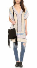 Free People Small Gauze Striped Pullover Poncho Tunic Boho Gypsy Festival Dress